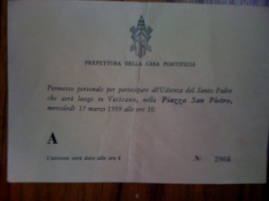 refettura Della Casa Pontificia (pass to see the pope on St. Patrick's Day
